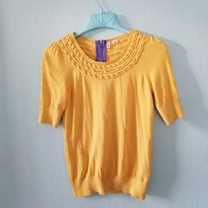Moth anthropologie yellow 1/4 sleeve blouse